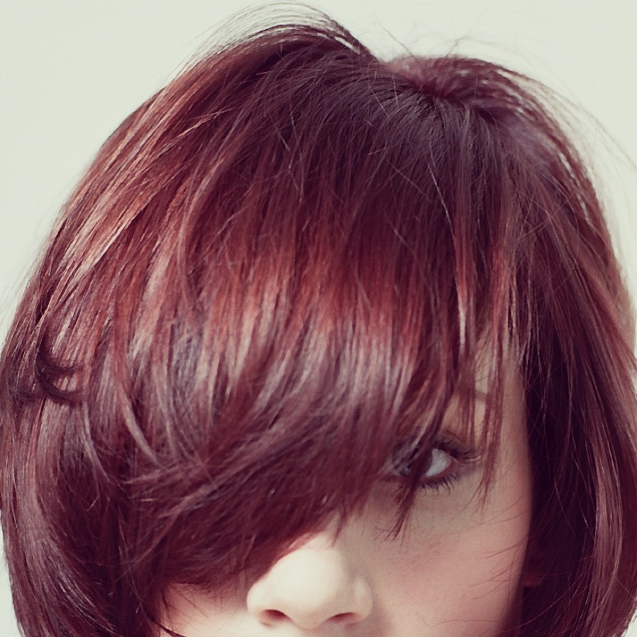 red-haired model with shiny hair