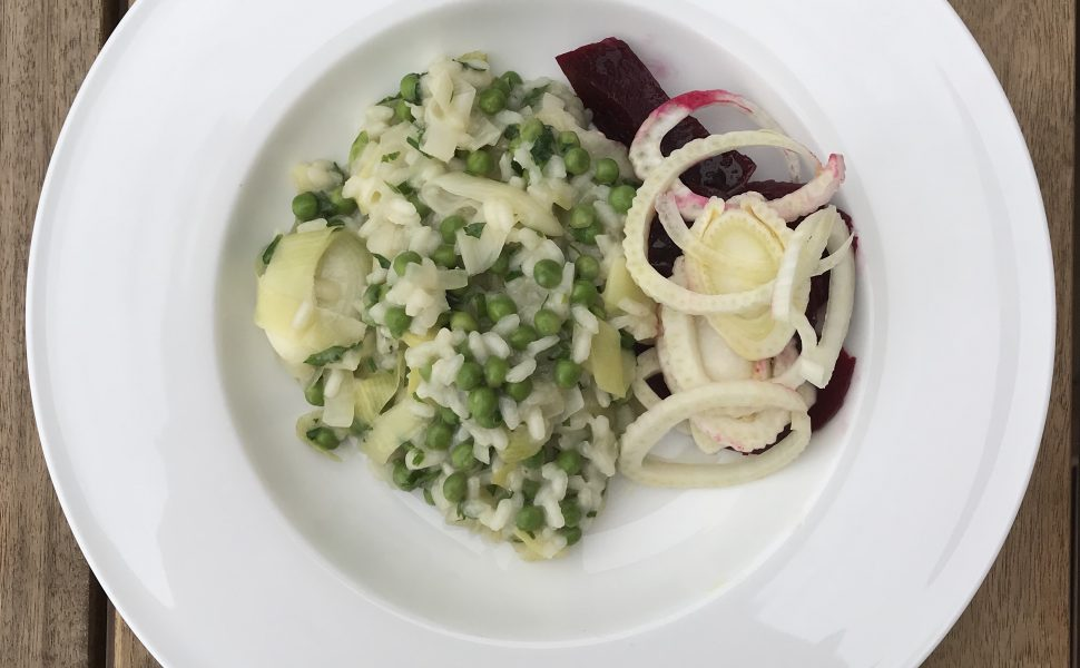 Foods for healthy hair white dish pea and leek risotto