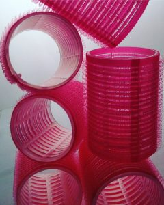 pink velcro rollers stacked
