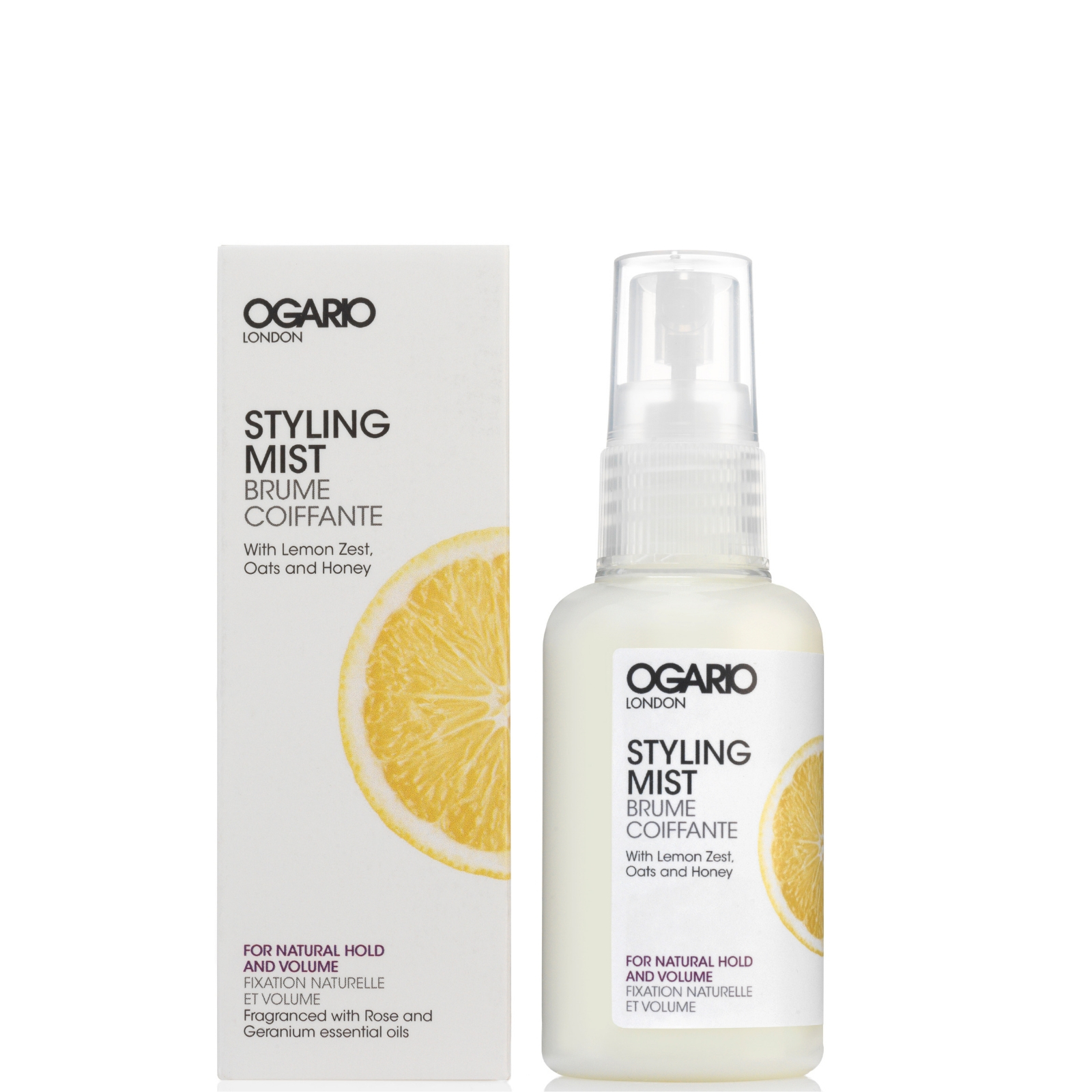 bottle of ogario styling mist volume with box on white background