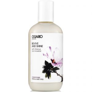 bottle of ogario revive and shine conditioner on white background