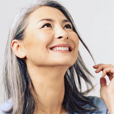 Embrace your grey hair; shoulder length grey hair